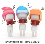 3D Illustration of Kids Singing a Christmas Carol - stock photo