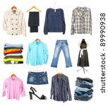 clothing collection isolated on ...   Shutterstock . vector #89990938
