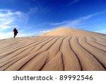 Desert Landscape With Hiker