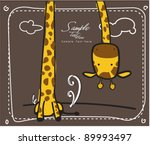 Stock vector long neck giraffe greeting card 89993497