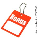 Bonus tag with copy space isolated on white, there is no copyright infringement - stock photo