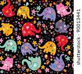 elephants  birds   flowers... | Shutterstock .eps vector #90013441