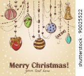 christmas hand drawn decorative ...   Shutterstock .eps vector #90025522