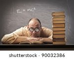 teacher lying on a desk in a... | Shutterstock . vector #90032386