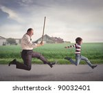Angry Man With A Stick Running...