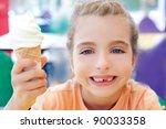children girl happy with cone... | Shutterstock . vector #90033358