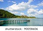 wooden jetty in gulf of thailand | Shutterstock . vector #90058606