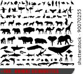Stock photo set of very detailed animal silhouettes 90070255