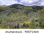 Autumn forest on mountains slopes. Colorado, USA - stock photo