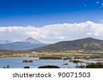 Serene landscape of lake  and mountains in Colorado, USA - stock photo