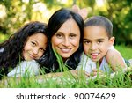 happy family outdoors on the... | Shutterstock . vector #90074629
