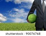 businessman holding a green...   Shutterstock . vector #90076768