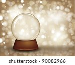christmas snow globe on a...