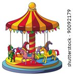 Children Carousel With Colorfu...