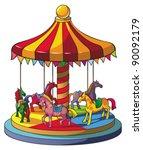 Children Carousel With Colorfu...
