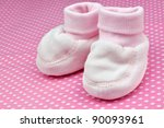 pink baby booties | Shutterstock . vector #90093961