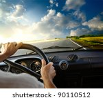 hands of a driver on steering... | Shutterstock . vector #90110512