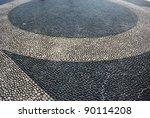 Cobblestones decorative pavement background, Isola Bella, Borromean Island on Maggiore lake, Italy - stock photo