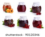 set of jars with berry jam... | Shutterstock . vector #90120346