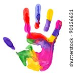 Close Up Of Colored Hand Print...