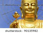 Big Golden Buddha With Lotus...