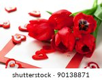 Red Tulips And Greeting Card...