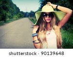 pretty young woman hitchhiking... | Shutterstock . vector #90139648
