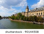 Quay of Paris with the river Seine, France. - stock photo
