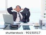 satisfied businessman relaxing...   Shutterstock . vector #90150517