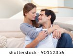 cute couple embracing each... | Shutterstock . vector #90152356
