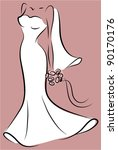 silhouette of a bride in a...   Shutterstock .eps vector #90170176