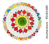 Colorful mosaic on white with clipping path - stock photo