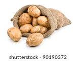 Raw Harvest Potatoes In Burlap...