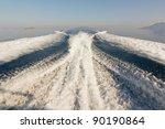 twin propeller speed boat wake | Shutterstock . vector #90190864