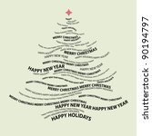 christmas tree shape from words ... | Shutterstock .eps vector #90194797