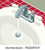 water running from bathroom sink | Shutterstock . vector #90204919