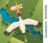stork carrying baby girl | Shutterstock . vector #90204928