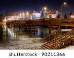Malbork at night with bridge to the Marienburg Castle, Poland - stock photo