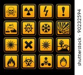 hazard symbols orange vectors... | Shutterstock .eps vector #90232594