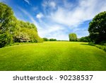 green field and cloudy sky | Shutterstock . vector #90238537