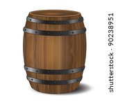 A wooden beer or wine barrel on white background. EPS10 vector format. - stock vector
