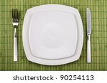 white empty plate  knife and... | Shutterstock . vector #90254113