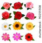 big set of beautiful colorful...   Shutterstock .eps vector #90255508