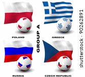 Participating teams of Group A of Europe's biggest soccer competition. Easy to edit and use. - stock photo