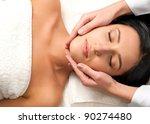 beautiful young woman receiving ... | Shutterstock . vector #90274480