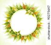 round floral frame with leaves... | Shutterstock .eps vector #90275647