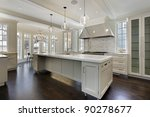 Stock photo modern kitchen in new construction home with island 90278677