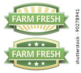 Farm fresh food label, badge or seal with green and yellow color in vector - stock vector