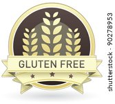 Gluten free food label, badge or seal with brown and tan color and wheat or grain emblem in vector style - stock vector
