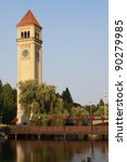 The Clock Tower In Riverfront...